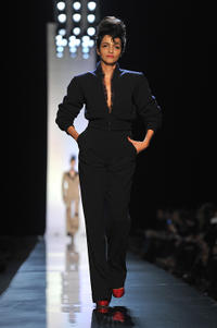 Farida Khelfa at the Jean-Paul Gaultier show during the Paris Haute Couture Fashion Week Spring/Summer 2011.