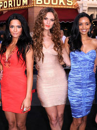 Antoinette Nikprelaj, Toni Busker and Sanya Hughes at the California premiere of