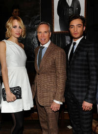 Ruta Gedmintas, designer Tommy Hilfiger and Ed Westwick at the Tommy Hilfiger Fall 2011 Men's Collection in New York.