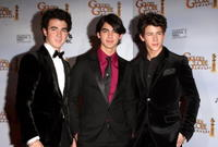 Kevin Jonas, Joe Jonas and Nick Jonas at the 66th Annual Golden Globe Awards.