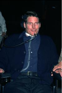Christopher Reeve at a party by William Morris Agency to honor Golden Globe nominees.