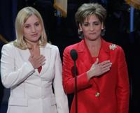 Kerri Strug and Mary Lou Retton at the start of final night of the Republican National Convention.