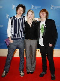 Robert Sheehan, Kimberley Nixon and Robert Grint at the photocall of