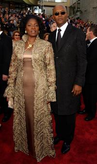 La Tanya Richardson and Samuel L. Jackson at the 74th Annual Academy Awards.