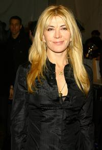 Natasha Richardson at the backstage of J Mendel Fall 2007 fashion show.