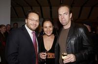 Jeremy Sims, Rebecca Rigg and Hugo Weaving at the opening night of Drama Theater in Sydney.