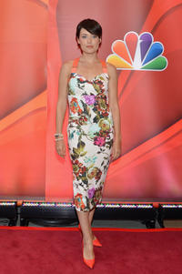 Megan Boone at the red carpet of 2013 NBC Upfront Presentation.