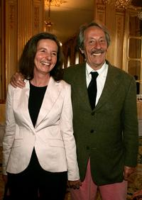 Jean Rochefort with his wife at the Knight Of The Legion of Honor Award (Chevalier de la Legion d'honneur).