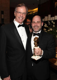 Chelcie Ross and Matthew Weiner at the AMC Golden Globes Viewing party in California.