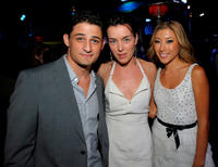 Enver Gjokaj, Olivia Williams and Dichen Lachman at the Fox Fall Eco-Casino Party in California.
