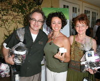 John Billingsley, Tulia Representative Juliana Oushana and Bonita Friedericy at the Tulia Skin Care booth during Frederic Fekkai Pre-Emmy