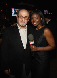 Salman Rushdie and Lola Ogunnaike at the Bipartisan Election Night Party.