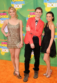 Gage Golightly, Matt Shively and Malese Jow at the Nickelodeon's 24th Annual Kids' Choice Awards in California.