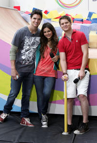 Robbie Amell, Victoria Justice and Matt Shively at the Nickelodeon Celebrates Annual Worldwide Day of Play in New York.