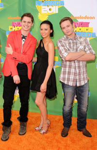 Matt Shively, Malese Jow and Nick Purcell at the Nickelodeon's 24th Annual Kids' Choice Awards in California.