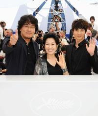 Director Boon Joon Ho, Kim Hye-Ja and Won Bin at the photocall of