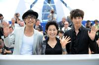 Jin Goo, Kim Hye-Ja and Won Bin at the photocall of