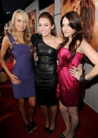 Melissa Ordway, Miley Cyrus and Carly Chaikin at the premiere of