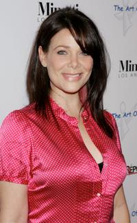 Meredith Salenger at the opening of works by artist Russell Young entitled