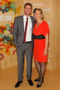Liam Hemsworth and Leonie Hemsworth at the Myer marquee during Emirates Melbourne Cup Day in Australia.