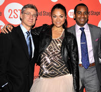 David Garrison, Karen Olivo and Daniel Breaker at the after party of the Off-Broadway Opening Night of