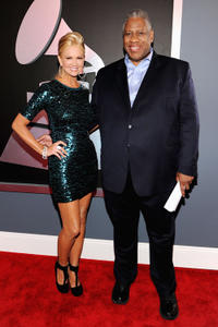 Nancy O'Dell and Andre Leon Talley at the 54th Annual GRAMMY Awards in California.