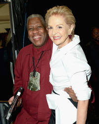 Andre Leon Talley and Carolina Herrera at the Carolina Herrera Fashion Show during the Mercedes-Benz Fashion Week Spring 2014.