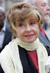 Prunella Scales at the Broadcasting house.
