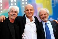 Michele Mozzati, Claudio Bisio and Gino Vignali at the Mediaset TV programming presentation.