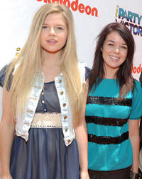 Ana Mulvoy Ten and Jade Ramsey at the Orange Carpet of the Nickelodeon's Los Angeles premiere of