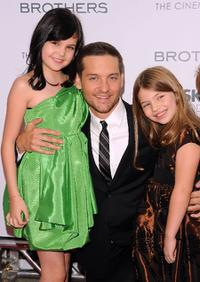 Bailee Madison, Tobey Maguire and Taylor Geare at the screening of