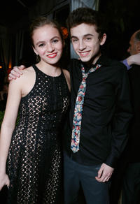 Morgan Saylor and Timothee Chalamet at the Entertainment Weekly Pre-SAG Party in California.