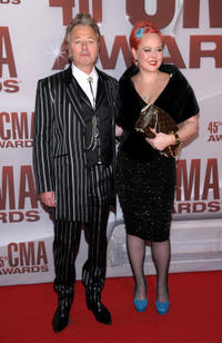 Brian Setzer and Julie Reiten at the 45th Annual CMA Awards.