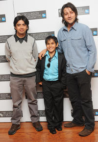 Writer Augusto Mendoza, Christopher Ruiz-Esparza and director Diego Luna at the premiere of