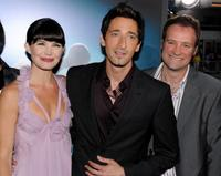 Delphine Chaneac, Adrien Brody and David Hewlett at the premiere of