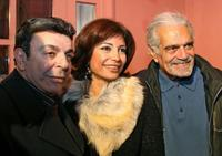 Omar Sharif, Sawsan Badr and Samir Sabri at the first day of shooting of Inas Bakr's new television series