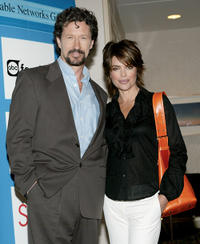 Charles Shaughnessy and talk show host Lisa Rinna at the announcement of the Disney Channel's new talk show