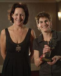 Fiona Shaw and Mel Kenyon at the Lawrence Olivier Theatre Awards.