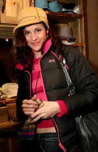 Ally Sheedy at the Goorin Brothers Display at the Gibson Guitar Lounge on Main Street.