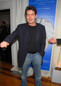 Charlie Sheen at the cocktail reception for Omegamania-Antiquorums preview of 300 collectors Omega timepieces soon to be auctioned at the Beverly Wilshire Hotel.