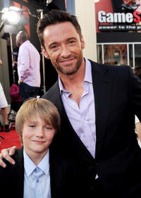 Dakota Goyo and Hugh Jackman at the California premiere of