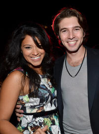 Gina Rodriguez and Roberto Aguire at the celebration of