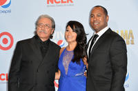 Edward James Olmos, Gina Rodriguez and Michael D. Olmos at the press room during the 2012 NCLR ALMA Awards.