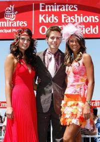 Jodi Gordon, Jason Smith and Sharni Vinson at the Junior Kids Fashions on the Field event during the 2005 Emirates Stakes Day.