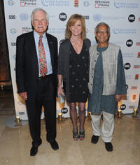 CNN founder Ted Turner, Catherine Crier and Muhammad Yunus at the 2010 MDG Summit concluding reception in New York.