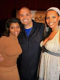 Taraji P. Henson, Sinbad and Meredith Adkins at the Mercedes Benz Fashion Week.