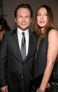 Christian Slater and Tamara Mellon at the Halston 2008 fashion show during Mercedes-Benz Fashion Week Fall 2008.