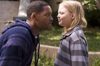 Will Smith as Hancock and Daeg Faerch as Michel in