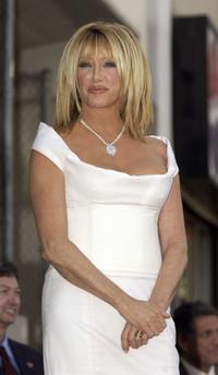 Suzanne Somers at the ceremony honoring her with a star on the Hollywood Walk of Fame.