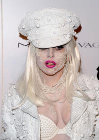 Lady Gaga at the amfAR New York gala during the Fall 2010 Fashion Week in New York.